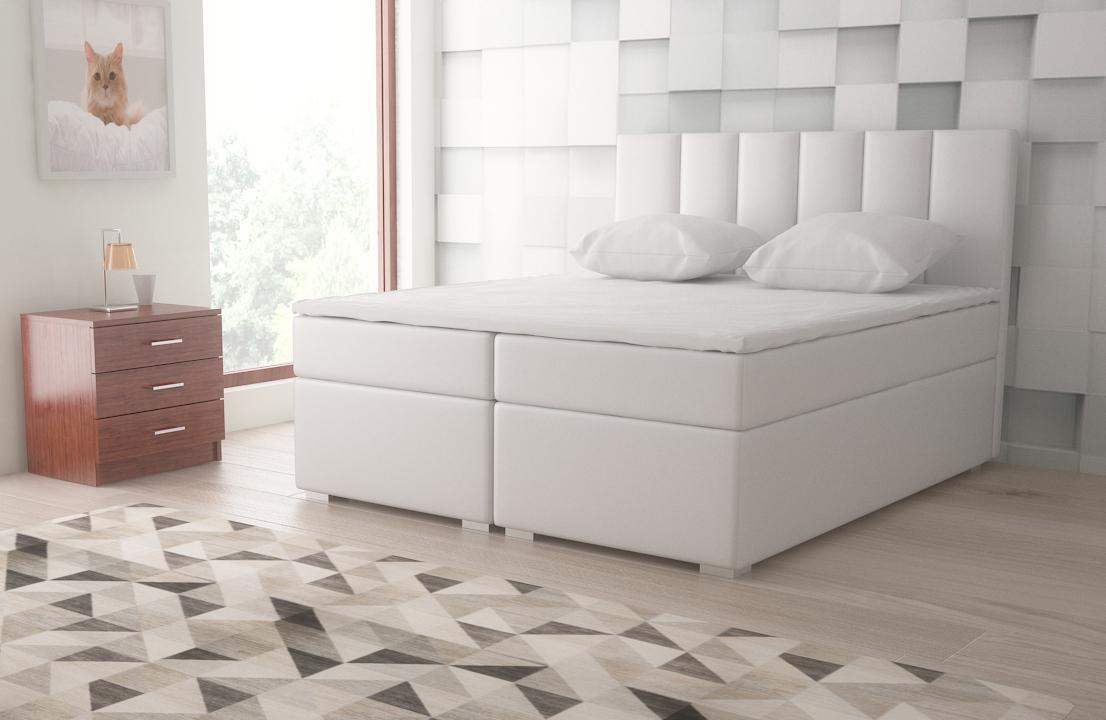 boxspringbett 160x200cm weiss mit bettkasten. Black Bedroom Furniture Sets. Home Design Ideas